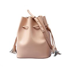 Leather Bucket Bag In Pink via Women's Fashion Bags. Click on the image to see…