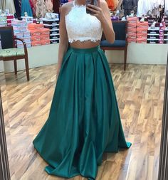 Dark Green Prom Dress, Two Piece Prom Dresses