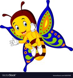 Cute butterfly cartoon vector image on VectorStock Butterfly Cartoon Images, Cartoon Kids, Cute Cartoon, Cute Animal Clipart, Cute Butterfly, Vector Free, Cute Animals, Sketches, Clip Art