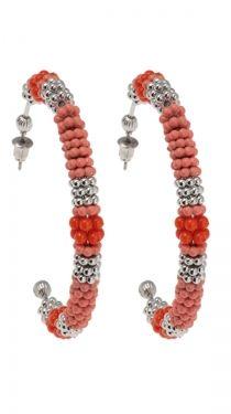 Bead Hoop Earrings - Coral