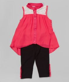 Look at this Pink Lace Tank & Leggings - Toddler & Girls on #zulily today!