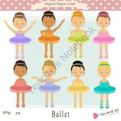 Clipart Ballet can be used for   Craft,  Painting,  Decoupage  Scrapbook,  Cardmaking  Web Design  Invitations and more