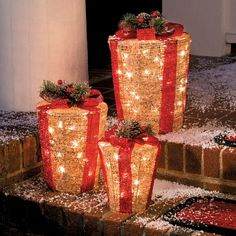 Pre-Lit Glittering Gift Box Christmas Decorations-Set of 3