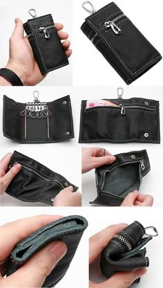 Pocket Genuine Leather Case Key Case Holder Wallet Coin Purse Keys Organizer Mens Leather Car Key Pouch Bag Wallet with Keychain