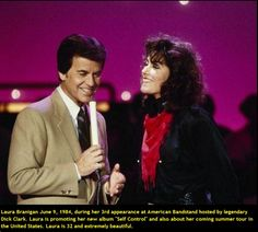 """Laura Branigan June 9, 1984 visiting music show """"American Bandstand"""" with legendary host Dick Clark. Laura is promoting her new album """"Self Control"""""""