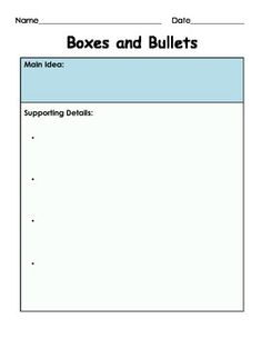 Main Idea and Supporting Details: Boxes and Bullets (Graph