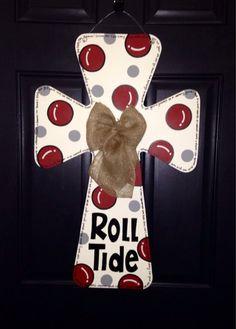 Alabama Wooden Cross Door Hanger by SweetSophieJacks on Etsy Cross Door Hangers, Wire Hangers, Wreaths For Front Door, Door Wreaths, Fight Song, Cross Paintings, Alabama, Schools, Painted Crosses