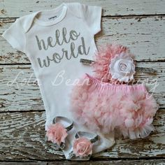 Baby Girl Take Home Outfit Newborn Baby Girl Hello World Bodysuit Bloomers Headband Sandals Set Pink Silver lolabeanclothing Coming Home