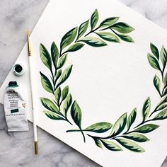 :: Goodness is uneventful. It does not flash, it glows. Oxide of Chromium and Viridian Green wreath for a logo design; feels like spring and sunshine✨ Easy Watercolor, Watercolor Cards, Watercolour Painting, Painting & Drawing, Watercolors, Art Sketchbook, Beautiful Artwork, Art Inspo, Canvas Wall Art