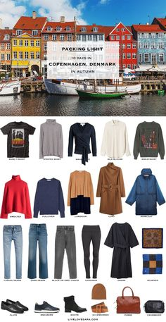 What to Pack for Copenhagen Denmark in Autumn - livelovesara - What to pack for Copenhagen packing list Fall Packing List, Travel Packing Outfits, Packing For Europe, Packing Clothes, Travel Capsule, Travel Wardrobe, Capsule Wardrobe, Vacation Travel, Backpacking Europe