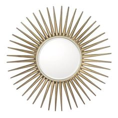 "SUNBURST MIRROR OPTION FOR OVER ROOM&BOARD ENTRY TABLE | Celestial Sunburst Mirror in Champagne Silver 34""DIA"