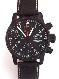 The Swiss Fortis automatic watch company is commonly associated with space and aviation.This special edition pilot chronograph is very attractive in price and a real collector item. www.megawatchoutlet.com