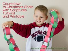 How to incorporate the scriptures into your countdown to Christmas Chain. Links to printables of scriptures you can use.