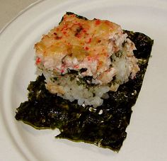 """Uncle Chuck's Crab & Shiitake Mushroom Sushi """"Casserole"""" On a pleasant evening this past week we had yet another family reunion, this time connecting with my German roots/peeps, who came to vis. Sushi Rice Recipes, Seafood Recipes, Sushi Rice Recipe Hawaii, Crab Sushi Rice Recipe, Baked Sushi Recipe, Crab Rice, Seafood Meals, Pasta Meals, Seafood Soup"""