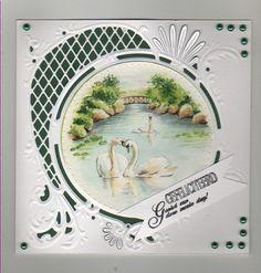 Voorbeeldkaart - zwaan - Categorie: Scrapkaarten - Hobbyjournaal uw hobby website