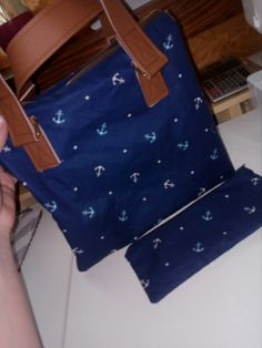 My work, borwn with sailor blue bag