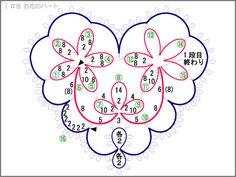 T_8 花のハート1 編み図 A super cute heart pattern!