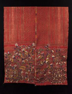 """Asian Tribal Art - Man's wedding shawl (doshalo), Rajasthan, India.Man's wedding shawl (doshalo) Rajasthan, India, Meghwar leather workers caste Ajrakh vegetal dye blockprint with silk embroidery, made by a woman for her husband-to-be. Mid-20th century 41"""" wide by 96"""" long (104 by 244 cm) #3239"""