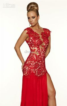 Red Lace Sheath Full Length Tulle Evening Gown