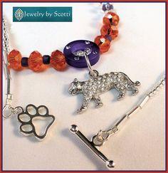 Rhinestone Tiger Charm Necklace for Clemson by JewelryByScotti