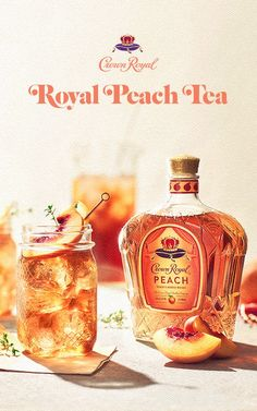 Royal Peach Tea Ingredients - oz Crown Royal Peach - oz Iced Tea - Fresh Lemon Instructions - Fill glass with crushed ice - Add whisky and iced tea - Stir gently - Garnish with a Party Drinks, Cocktail Drinks, Fun Drinks, Beverages, Cocktails, Peach Drinks, Summer Drinks, Crockpot, Keto Desserts