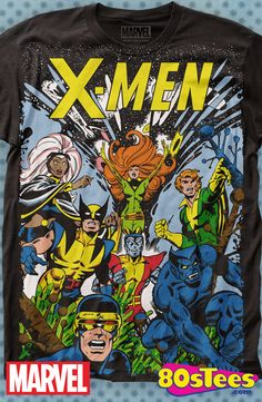 X-Men Group T-Shirt: X-Men Mens T-Shirt These celebrity characters have been seen in films and comic books and the design and illustration of the art on this product makes it a must have to your men's fashion t-shirts.