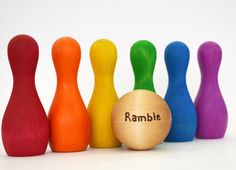 Rainbow Wooden Toy - Personalized Bowling Set - Waldorf Toddler Toy on Etsy, $29.00
