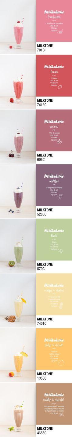 pantone milkshake milktone : recette simples et fruitées. On peut aussi utiliser du lait d'amande.
