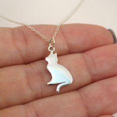 FashionJunkie4Life - Sterling Silver Silhouette Cat Charm Necklace. Use coupon code PIN10 for 10% off your entire purchase.