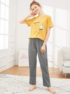 SHEIN offers Bear & Letter Print Pajama Set & more to fit your fashionable needs. Cute Lazy Outfits, Retro Outfits, Girl Outfits, Casual Outfits, Fashion Outfits, Night Suit For Girl, Night Dress For Women, Loungewear Outfits, Pajama Outfits