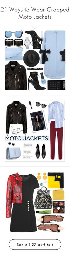 """21 Ways to Wear Cropped Moto Jackets"" by polyvore-editorial ❤ liked on Polyvore featuring waystowear, croppedmotojacket, Étoile Isabel Marant, MSGM, CÉLINE, Yves Saint Laurent, Linda Farrow, The White Company, LEXON and Topshop"
