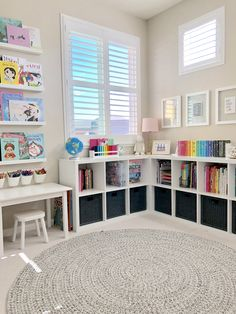 A Reimagined Playroom - Project Nursery - Victoria Perez - A Reimagined Playroom - Project Nursery bright and colorful playroom with wooden play house with kitchen and cubby shelves - Playroom Design, Playroom Decor, Playroom Ideas, Nursery Ideas, Colorful Playroom, Modern Playroom, Toddler Playroom, Children Playroom, Kids Rooms