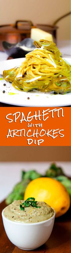 ARTICHOKES SPAGHETTI with garlic and Pecorino cheese - Artichokes spaghetti is a simple and tasty Italian dish. Pasta is tossed along with a smooth and healthy artichokes dip. Fresh mint and Pecorino cheese will give at this recipe a particular flavor! - cooking, sauce, dip, healthy, dinner