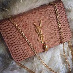 Baby pink YSL snakeskin bag