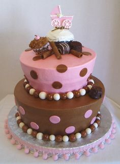 Pink And Brown Baby Shower Cakes Pictures