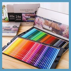 DeLi 24/36/48/72 Colors Oily Color Pencil Iron Box Pastel Coloring Pen Advanced Drawing Sketch Colored Pencils Colores De Madera