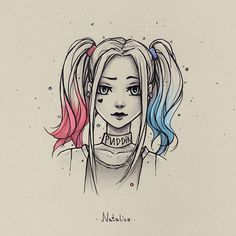 Harley Quinn from natalico on DeviantArt - . - Harley Quinn by natalico on DeviantArt – Girly Drawings, Art Drawings Sketches Simple, Pencil Art Drawings, Cartoon Drawings, Princess Drawings, Anime Girl Drawings, Amazing Drawings, Colorful Drawings, Harley Quinn Drawing