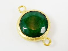 Emerald Green Faceted Round Jade Connector   Gold by LylaSupplies, $6.00
