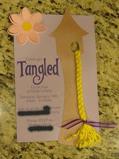 Tangled party invites.  Made with Silhouette Cameo. -Fun ideas to theme an outdoor movie night from Southern Outdoor Cinema of Atlanta.