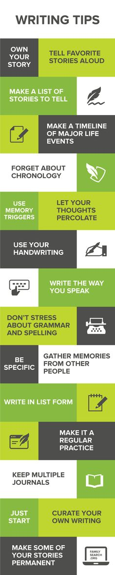 There's no better time to start preserving your most important family stories. Tell your stories aloud, make a timeline of major life events, and write the way you speak are a just a few of the writing tips to help you get started. See and learn more here: https://www.familysearch.org/blog/en/18-writing-tips-tell-stories/#simple