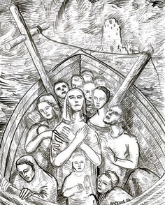 The Ship of Lost Souls, 2016 ink drawing by William T. Ayton