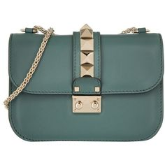 Valentino Shoulder Bag - Rockstud Crossbody Small Giada - in green -... ($1,560) ❤ liked on Polyvore featuring bags, handbags, shoulder bags, green, leather crossbody handbags, leather purses, handbags crossbody, leather handbags and leather hand bags