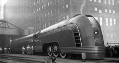 """dequalized: """" The NYC Mercury in Chicago, a daytime streamliner passenger trains operating between midwestern cities, July 7th, 1936. Designed by the noted industrial designer Henry Dreyfuss, the..."""