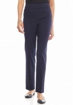 Alfred Dunner Navy Petite Classic Allure Stretch Pull On Average Pants