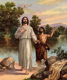 Catholic Teaching: Jesus' baptism is one of the most prominent parts of the Bible, and is the main reason Catholics today are baptized. This painting was drawn moments before Jesus was attacked by a dove swooping down from a nearby tree. Kids Sunday School Lessons, Bible Lessons For Kids, New Testament Bible, Old And New Testament, Jesus Baptised, Scriptural Rosary, Rosary Mysteries, Jesus Bible, Thank You Jesus