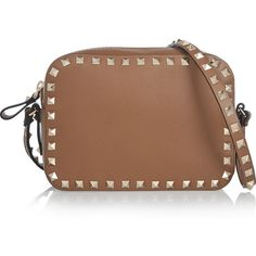 Valentino The Rockstud leather shoulder bag ($1,010) ❤ liked on Polyvore featuring bags, handbags, shoulder bags, leather crossbody, crossbody handbags, brown leather purse and cross body purse