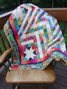 Patchwork Star Quilt Handmade Twin Size by SnowDogQuiltWoodwork