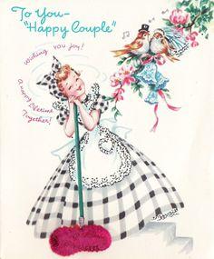 Vintage Wedding Congratulations Card To Happy Couple