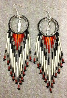 Native American Porcupine Quill Earrings by prettyuniquedesigns2