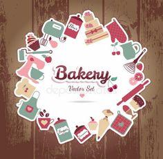 Stock Images similar to ID 131212718 - sweet recipe vector card. Baking Logo Design, Cake Logo Design, Candy Logo, Flour Bakery, Bakery Packaging, Hotel Logo, Recipe Scrapbook, Food Stickers, Bakery Logo